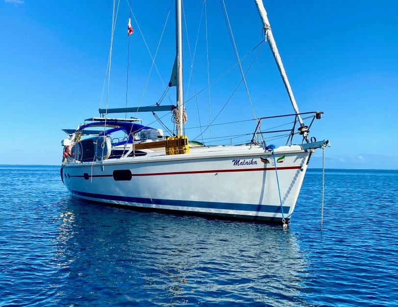 Our home and sailboat finally launched in Raiatea French Polynesia