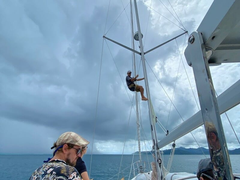 Rigging inspection during the sea trial Raiatea French Polynesia