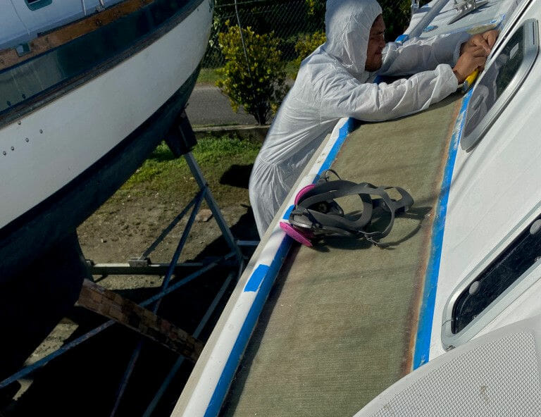 Deck repairs in progress in Raiatea French Polynesia