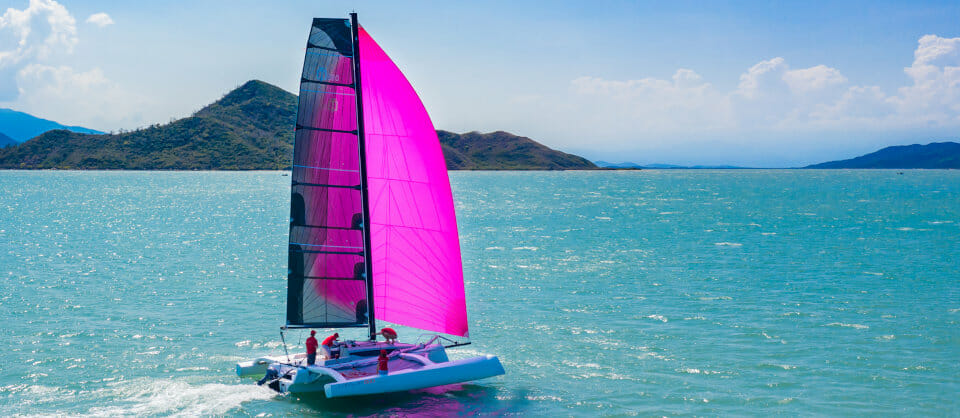 Corsair 880 trimaran in Tahiti