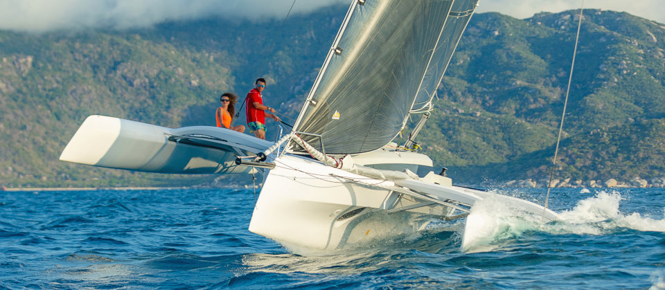Corsair 880 trimaran in Tahiti