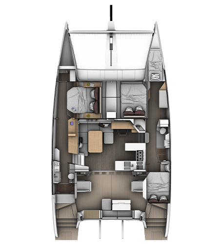 3-cabins 3-bathrooms layout