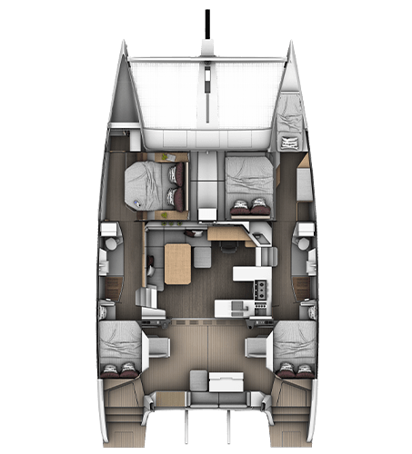 4-cabins 2-bathrooms layout