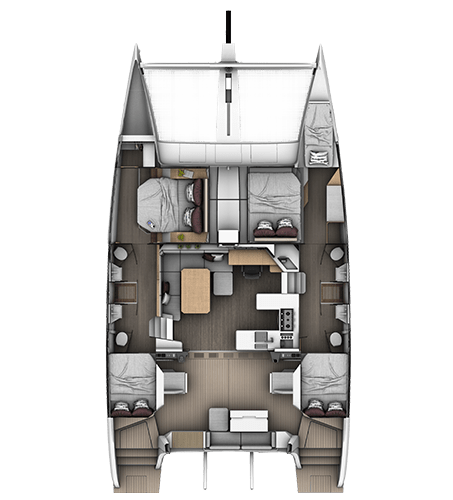4-cabins 4-bathrooms layout