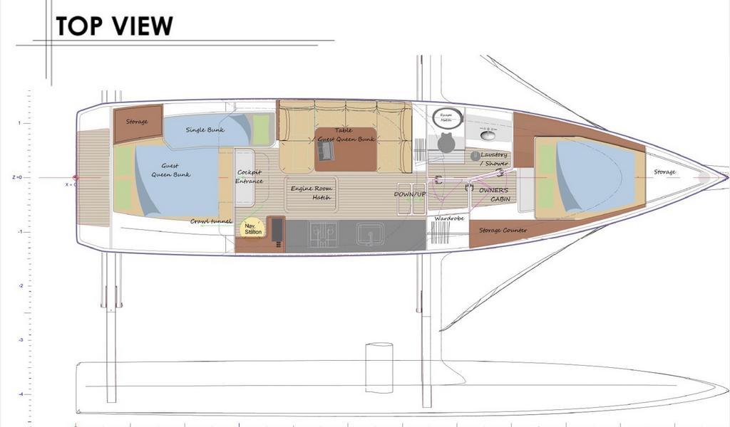 Rapido 40 Trimaran plan diagram